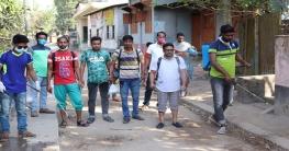 চাটমোহরে পাড়ায় পাড়ায় জীবাণুনাশক ছিটাল ছাত্রলীগ